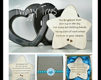 Freestanding Gift Star Plaque. Remembrance memory decoration Brightest star shining in our hearts ... holding hands  wooden personalised