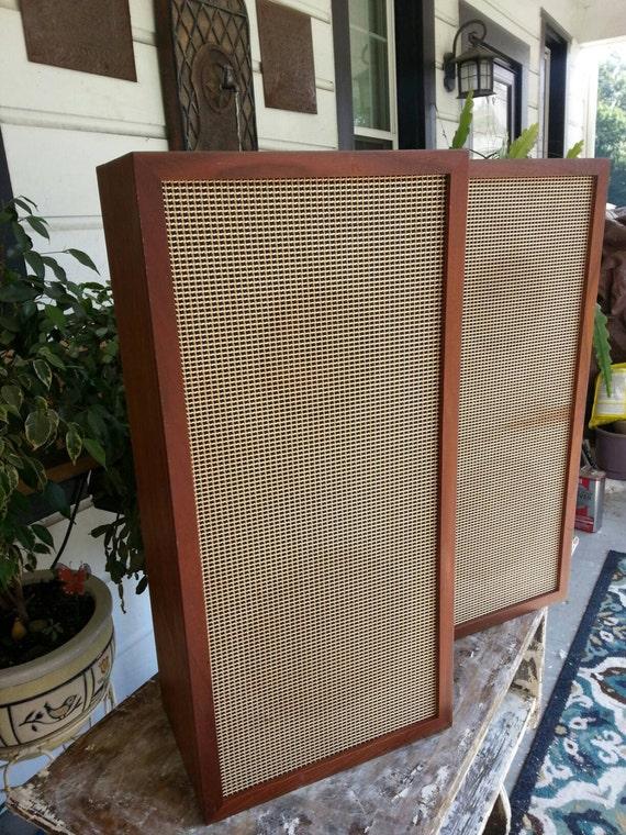 Vintage Speakers Sweden Mid Century Modern Wood Set Of 2