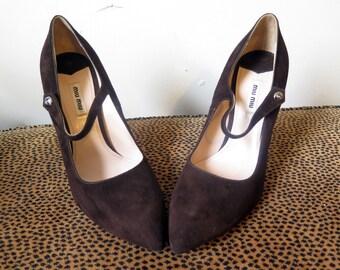 Miu Miu Prada Shoes Brown Suede Mary Jane Heels Size 40