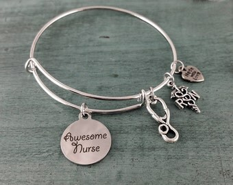 Awesome Nurse ~RN~ Adjustable Bangle Bracelet