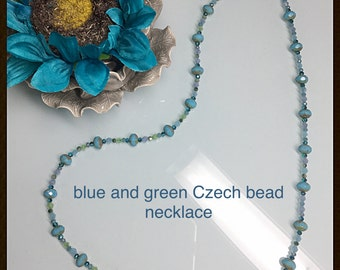 Czech bead and crystal necklace blue green