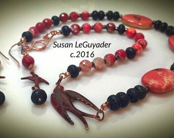 Spring Abounds:  Quartz, Lava, Red, Bird Necklace #queenebead