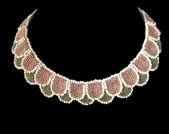 Gatsby. Bead embroidered necklace.