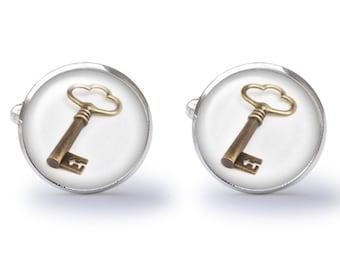 Cufflinks - Key Cufflinks - Antique Key Cufflinks - Skeleton Key Cuff Links (Pair) Lifetime Guarantee (S0704)