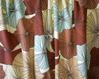 Scandinavian  High quality printed  pair of curtains with large flowers in blue brown and beige.