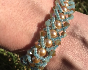 Teal and Gold Flat Spiral Bracelet