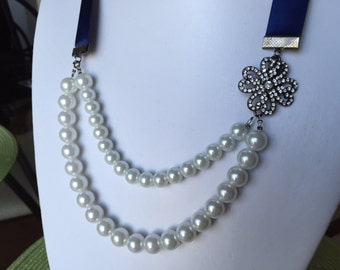 Navy and Pearl Ribbon Necklace
