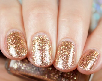 "Roses Are Gold"" Rose Gold Glitter Polish - Full size 15ml Bottle."