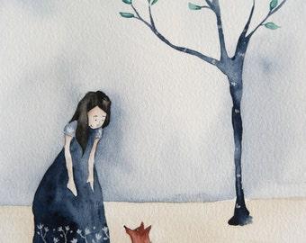 Fox friend Illustration Print from Original watercolor Wall Art