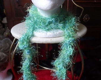Aqua Green Blue Crochet Boa Scarf