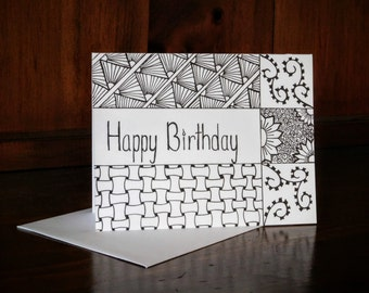 Zentangle Style Birthday Card, Aduld Coloring #16
