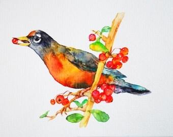 Original Watercolor Bird Painting, Home Wall Decor, Whimsical Wall Art, Gift for Friend, Nursery Decor, Yellow, Red, Black, Bird Illust