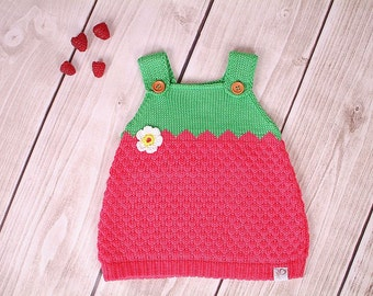 Baby dress knitting dress raspberry