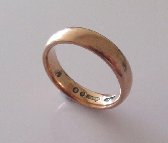 Art Deco Rose Gold Wedding Ring Band UK Size Q USA 8