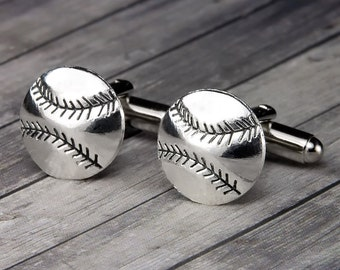 Baseball Cuff Links – Baseball Cufflinks – Silver Cuff Links - Mens Accessories - Mens Gift - Gifts for Him – Fathers Day - Gifts for Dad