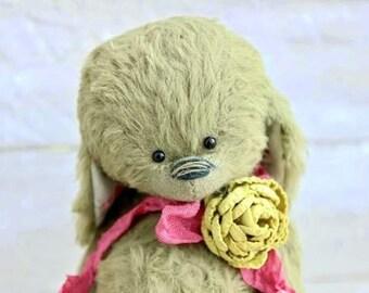 "Stuffed bunny.""FLORET"".Bunny. Stuffed rabbit.Rabbit.Teddy Bear.Vintage teddy.Old teddy.Torture teddy.Artist teddy.Teddy"