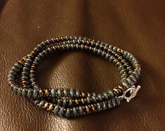 Moss green  and copper  wrap bracelet
