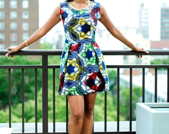 African Print Shift Dress