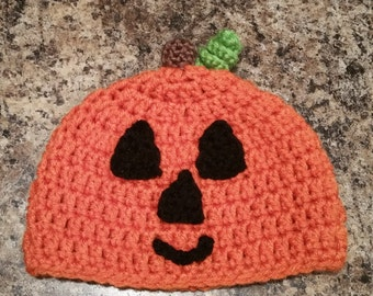 Crochet jack-o'-lantern hat 0 to 3 months
