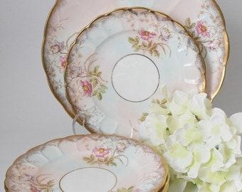 Pink and Gold Dessert Plates, Cauldfield & Co *Glasgow Branches* Fine Bone China Set, c 1900s