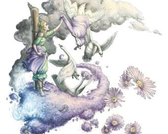 Fairy Tale Art Print: The Six Swans