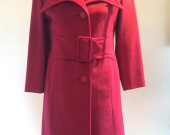Vintage Princess Coat Cherry Red Pointed Collar 1960-70's