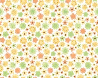 SALE 7.99 Yard - Riley Blake Sweet Baby Girl Fabric Monkey C4292 orange Flowers