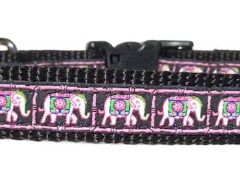 Pink Elephant Dog Collar, Adjustable Dog Collar, Ribbon Dog Collar