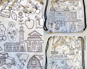 Backpack Style Library Bag / Activity Bag / Swim Bag / Drawstring Bag / Drawstring Backpack