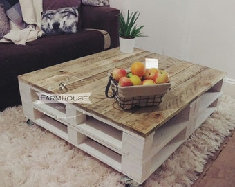 Large Pallet Coffee Table 'LEMMIK' Farmhouse Style - Reclaimed, Shabby Chic