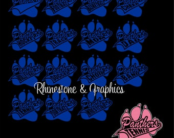 Panther Paw  Outlined in Crystal Rhinestones Design Pattern Instant download EPS SVG Cutting Files