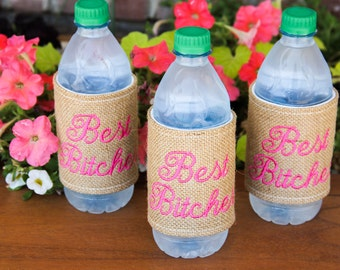 Custom Burlap Drink Cozies- Coxie, Monogram, Accessory, Drink, Water Bottle, Personalized, Colorful, Summer