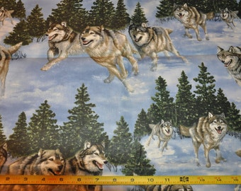 Retired!  1/2 Yard of Wolf - Coyote 100% Cotton Quilt Fabric by Cranston Village