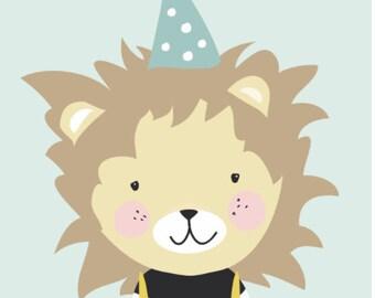 Happy Lion poster | art print | nursery art | kids poster | home decor