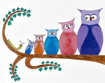 8.5x11 Print: Owls
