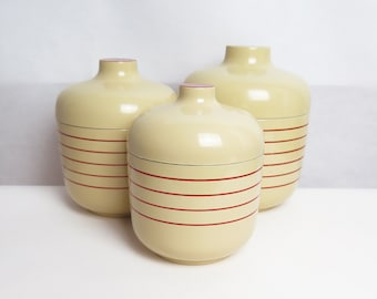 Retro Lacquerware Canisters // Set of 3 Cream & Red Stripe Atomic Mid Century Kitchen Canisters // Made in Japan // 1960s Nesting Containers