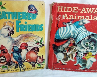 Vintage Children's Books, Feathered Friends & Hide-Away Animals, Mabel Watts author, Rand McNall Junior Elf Book