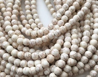 White Magnesite, Magnesite Beads, 8mm Beads, Cream White, Off White, Gemstone Beads, White Turquoise, White Beads, Light Beige, 10mm Beads