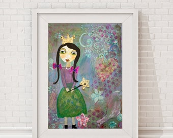 "Giclee Art Print, Giclee print, Print, Portrait of a little ""Princess"", fairy, whimsical, girl, girlsroom, baby, painting, nursery"