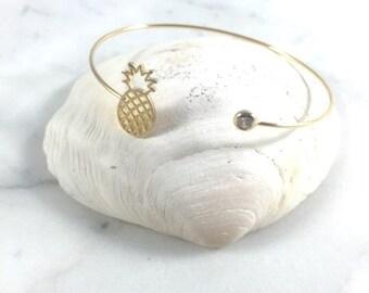 Pineapple Bracelet//Shinny Cuff Bracelet//Yellow Gold W/Clear CZ