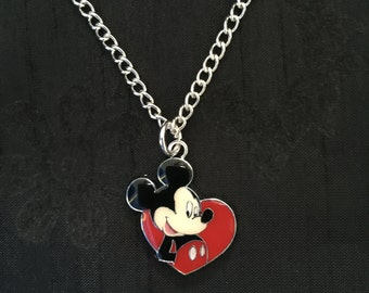 Silver Plated Disney Mickey Mouse Heart Necklace