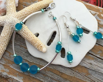 Seaglass and silver bracelet and earrings set ~ blue