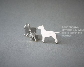 BULL TERRIER NAME Earring - Bull Terrier Name Earrings - Personalised Earrings - Dog Breed Earrings - Dog Earring