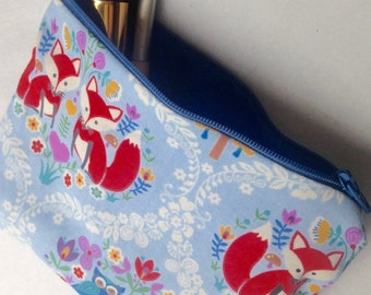 Woodland Foxes and Owls Cosmetic Bag Pencil Cas 5x7