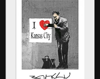 Banksy Poster - I Love New York - Grafitti Art - Prints - Kansas City