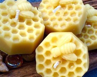 Honeycomb w/honeybee pure beeswax candle-set of 4 votive beeswax candles-honeycomb beeswax candles-4 candle set