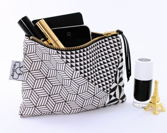 Geometric printed clutch/Coin purse/Original ANJESY designs/Hand printed zipper pouch/Gift for her.