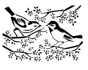 """5.8/8.3"""" birds on blossom tree stencil. a5."""