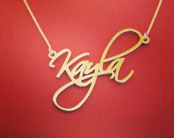 Signature Necklace Handwriting Necklace Gold Name Chain 10k Gold Name Necklace 10 ct Gold Name Necklace Name Plate Necklace Gold