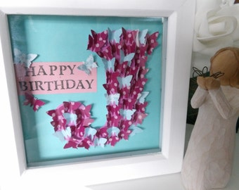 3D Butterfly Flourish Initial Letter Personalised Monogram Frame. Handmade stamped Wedding, New Baby, Christening, Birthday, Friend Gift
